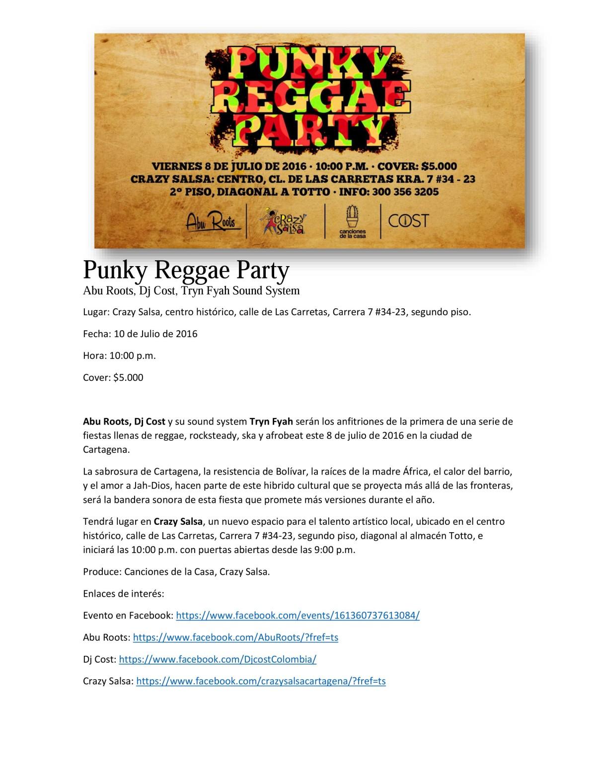 Punky Reggae Party Crazy Salsa